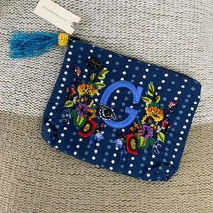 NWT | Anthropologie | Embroidered 'G' Cosmetic Bag